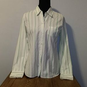 MAURICES SHIRT. SIZE L. WHITE WITH GREEN STRIPES